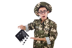 Funny soldier with movie board Royalty Free Stock Photography