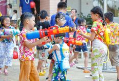 Funny at Songkran Thailand. Bangkok, Thailand - April 11, 2018 - Children play water gun in Songkran festival at Panchasap minburi school Royalty Free Stock Image