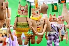 Funny souvenir cats, toys. Funny souvenir cats, stuffed toys stock photos