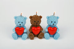 Funny Souvenir gift candles in the shape of teddy-bear. Stock Photos