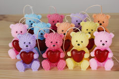 Funny Souvenir gift candles in the shape of teddy-bear with red Stock Photography