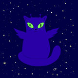 Funny space alien cat with wings,big eyes,antenna,green,isolated. Vector illustration fantastic cute,cartoon animal.Colored page for adults and children.Book vector illustration