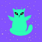 Funny space alien cat with wings,big eyes, antenna, isolated. Funny space alien cat with wings,big eyes,antenna,green,isolated.Vector illustration fantastic royalty free illustration