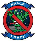 Funny Space Force Alien Cartoon Vector Illustration royalty free stock images