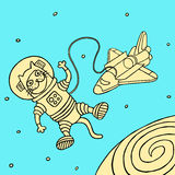 Funny spaceman cat. Cartoon Character. Vector Illustration. Royalty Free Stock Photo