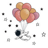 Funny spaceman fly with many balloons. Childish vector illustration stock illustration