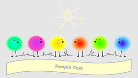 Funny spherical birds with text. Six funky fluffy bright spherical birds on gray background with place for your text Vector Illustration