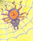 Funny spider sits in the cobweb on a yellow background vector illustration