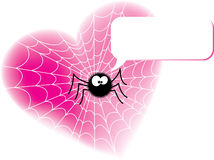Funny spider sitting on heart Royalty Free Stock Images