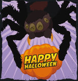 Funny Spider Trapping a Pumpkin for Halloween, Vector Illustration Stock Images