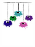 Funny spiders. Cute colour spiders hanging from web Royalty Free Stock Photo