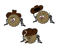 Funny spiders with hats Royalty Free Stock Images