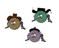 Funny spiders with hats Stock Images