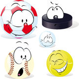 Funny sport ball with face  on white  - vector Stock Image