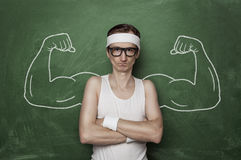 Funny sport nerd stock photography