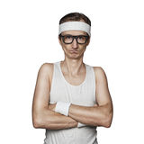 Funny sport nerd. Pretending tough guy isolated on white background stock image