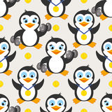 Funny sport pattern with penguin and gold medal. Royalty Free Stock Photography