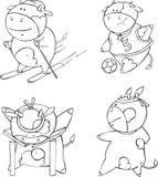 Funny sportive calf cartoons Stock Photos