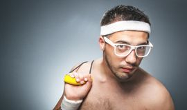 Funny sports man Royalty Free Stock Image