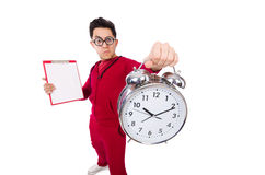 Funny sportsman with alarm clock isolated on white Royalty Free Stock Photos
