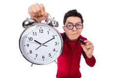 Funny sportsman with alarm clock isolated on white Stock Image