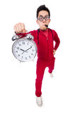 Funny sportsman with alarm clock isolated on white Stock Photo
