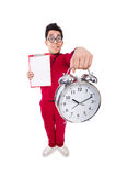 Funny sportsman with alarm clock isolated on white Royalty Free Stock Photography