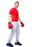 Funny sportsman in boxing gloves standing Royalty Free Stock Images