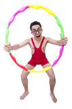 Funny sportsman with hula hoop Royalty Free Stock Photography