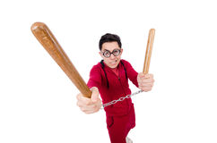Funny sportsman with nunchuks isolated on white Royalty Free Stock Photo