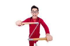 Funny sportsman with nunchuks isolated on white Royalty Free Stock Images