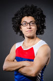 Funny sportsman sporting. His muscles Stock Images