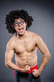 Funny sportsman sporting. His muscles Stock Image