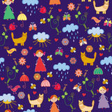 Funny spring chidish seamless pattern Royalty Free Stock Image