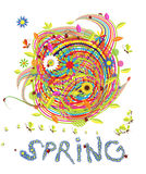 Funny spring illustration Royalty Free Stock Images