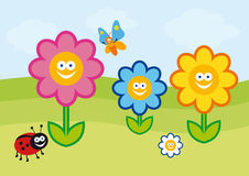 Funny flower illustration. Vector colorful flowers. Crazy colorful cartoon flowers. Children's Summer colorful drawing. Fresh spring background. Background with Royalty Free Stock Photos