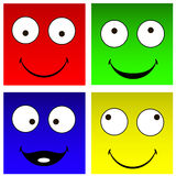 Funny square smilies Stock Image