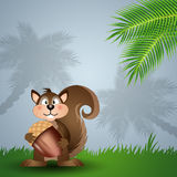 Funny squirrel with acorn Royalty Free Stock Image