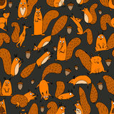 Funny squirrel with nut, seamless pattern for your design Stock Image