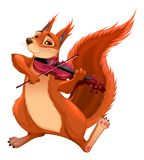 Funny squirrel is playing the violin. Stock Image
