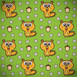 Funny squirrels pattern. Vector seamless pattern of funny squirrels, camomiles and acorns Stock Photos