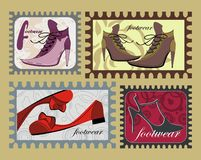 Funny stamps with female fashion footwear Stock Photos