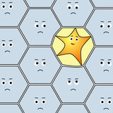 Funny star character deforms border of a cell in the middle of ordinary hexagons group Royalty Free Stock Photography