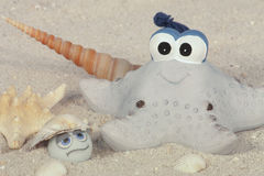 Funny starfish on the beach. Funny starfish with seashells on the beach Royalty Free Stock Photo