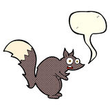 Funny startled squirrel cartoon with speech bubble Royalty Free Stock Photography
