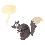 Funny startled squirrel cartoon with speech bubble Stock Photography