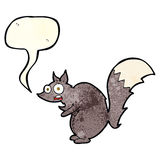 Funny startled squirrel cartoon with speech bubble Stock Image