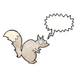 Funny startled squirrel cartoon with speech bubble Stock Images