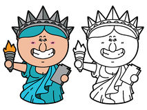 Funny Statue of Liberty. Vector illustration coloring page of happy cartoon Statue of Liberty which is holding torch for children and scrap book stock illustration