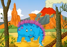 Funny stegosaurus cartoon with forest landscape background Royalty Free Stock Photos